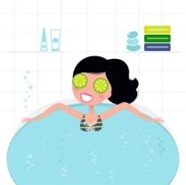 Cute retro woman relaxing in whirlpool foam bath..