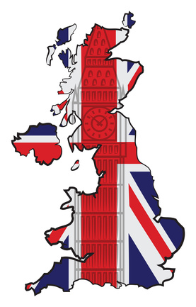 Map of England with flag and Big Ben