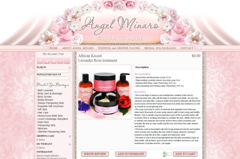 Bridal Spa boutique african kissed body set page